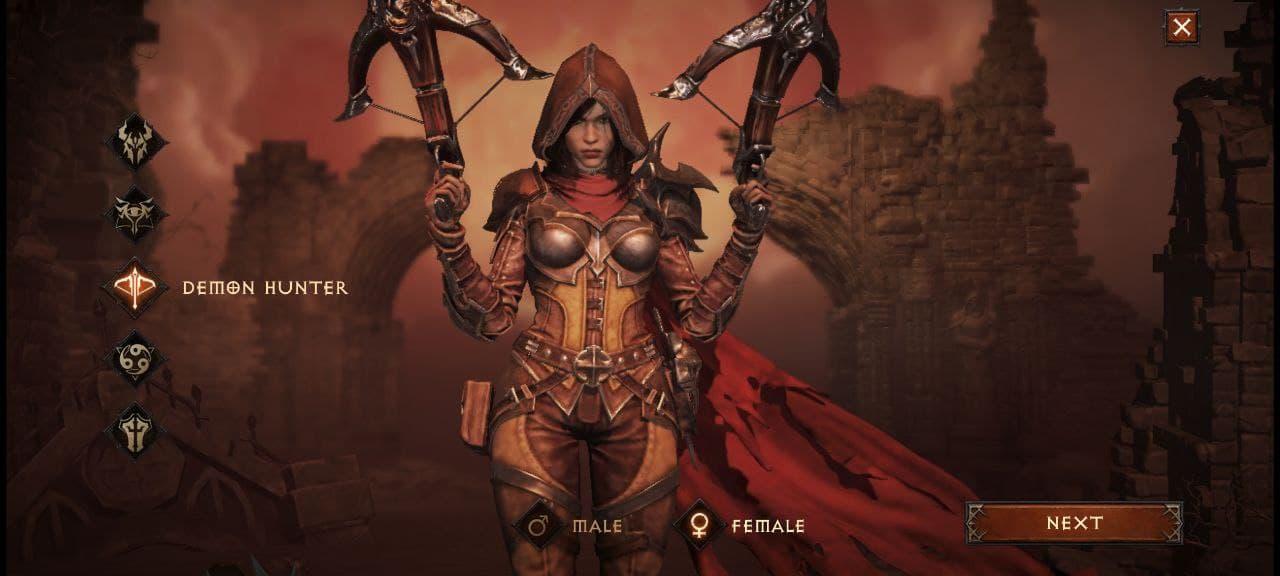 Diablo Immortal мужской персонаж Demon Hunter